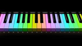 Het toetsenbord van de regenboogpiano, op zwarte wordt geïsoleerd die Royalty-vrije Stock Foto's