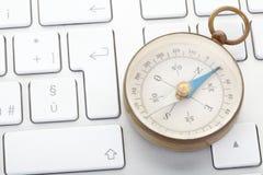 Het toetsenbord van het kompas en van de computer Royalty-vrije Stock Afbeelding
