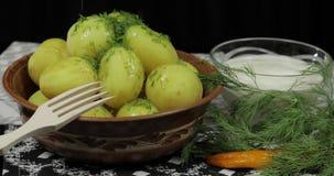 Het toevoegen van verse dille aan gekookte nieuwe heerlijke aardappel op plaat op lijst stock footage