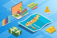 Het Togolese isometrische financiële concept van de economievoorwaarde voor beschrijft de groei van het land uitbreidt zich - vec vector illustratie