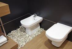 Het toilet en het bidet royalty-vrije stock foto's