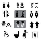 Het toilet ondertekent vectorreeks Stock Afbeeldingen