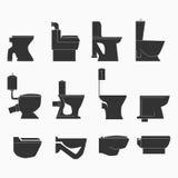 Het toilet typt lijnpictogrammen Royalty-vrije Stock Afbeeldingen