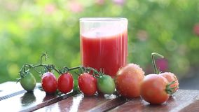 Het tomatesap wordt gegoten in een glas op de aard stock footage