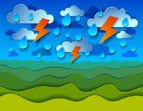 Het toneelaardlandschap van groene grasweide onder onweersbui en het beeldverhaaldocument van de bliksem het bewolkte regenachtig stock illustratie