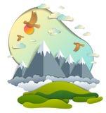 Het toneellandschap van de waaier van bergpieken, bewolkte hemel met vogels en zon, de zomer vectorillustratie in document sneed  royalty-vrije illustratie