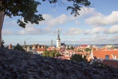 24-27 08 2016 het Toneelpanorama van de de zomer mooie luchthorizon van de Oude Stad in Tallinn, Estland Stock Foto