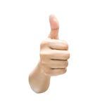 Het tonen van de hand beduimelt omhoog Stock Foto