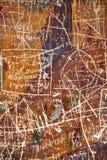 Krassen op een geschilderde oude muur in Trabzon Turkije Royalty-vrije Stock Afbeeldingen