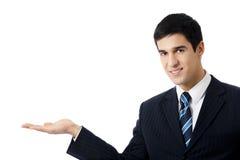 Het tonen van geïsoleerde_ zakenman, stock foto's