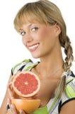 Het tonen van grapefruit stock foto's