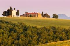 Het Toscaanse Landschap, Vitaleta-kapelkerk Stock Foto
