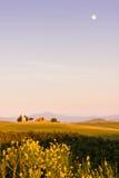 Het Toscaanse Landschap, Vitaleta-kapelkerk Royalty-vrije Stock Fotografie