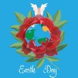 Het tot bloei komen en de vreedzame vector vlakke illustratie van de aardedag Stock Foto