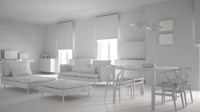 Het totale witte project van moderne eigentijdse woonkameropen plek met eettafel en hoekbureau, huiswerkplaats met verwerkt gegev royalty-vrije illustratie