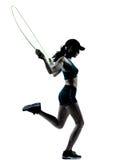Het touwtjespringen van de vrouwenagent jogger Stock Fotografie