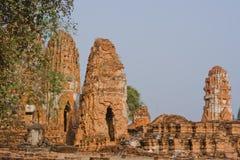 Het traditionele Boedha beeldhouwwerk van Thailand in Ayutthaya Stock Foto
