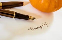 Het traditionele Dankzeggingskaart Schrijven Royalty-vrije Stock Foto
