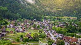 Het traditionele en Historische Japanse dorp Shirakawago in de Prefectuur Japan, Gokayama is van Gifu ingeschreven stock afbeelding