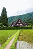 Het traditionele en Historische Japanse dorp Shirakawago in de Prefectuur Japan, Gokayama is van Gifu ingeschreven royalty-vrije stock afbeelding