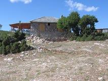 Het traditionele huis van Griekenland in Theologos (thassos) stock afbeeldingen