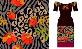 Het traditionele ikatornament met bloeit motieven Het ontwerp van de partijkleding Stock Afbeelding