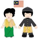 Het traditionele kostuum van Maleisië Stock Afbeeldingen