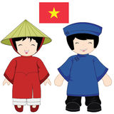 Het traditionele kostuum van Vietnam Royalty-vrije Stock Afbeeldingen