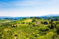Het traditionele landschap van Toscanië Italië Stock Afbeelding