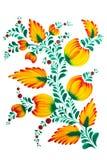 Het traditionele Oekraïense volks schilderen in Petrykivka-stijl Hand getrokken Petrikovka-illustratie Gouache het schilderen stock illustratie