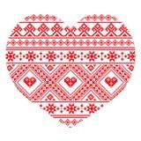 Het traditionele Oekraïense volkskunsthart breide rood borduurwerkpatroon Royalty-vrije Stock Fotografie