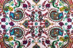 Het traditionele patroon van Paisley, zijde headscarf steekproef stock afbeelding