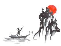 Het traditionele schilderen sumi-e van Japan Fujiberg, sakura, zonsondergang De zon van Japan Oostindische inktillustratie Japans stock illustratie