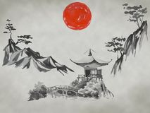 Het traditionele schilderen sumi-e van Japan Fujiberg, sakura, zonsondergang De zon van Japan Oostindische inktillustratie Japans stock foto's