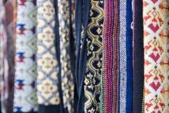 Het traditionele textielpatroon van Thailand Stock Foto's