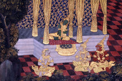 Het traditionele Thaise kunst schilderen op een muur Royalty-vrije Stock Afbeelding