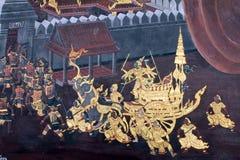 Het traditionele Thaise kunst schilderen op een muur Royalty-vrije Stock Foto's