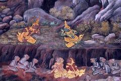 Het traditionele Thaise kunst schilderen op een muur Stock Foto