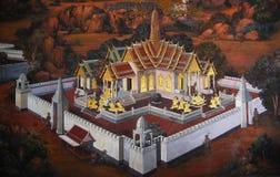 Het traditionele Thaise kunst schilderen in Wat Phra Kaew Stock Afbeeldingen