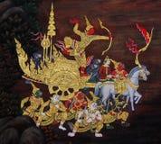 Het traditionele Thaise kunst schilderen in Wat Phra Kaew Stock Foto