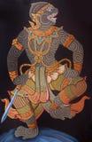 Het traditionele Thaise kunst schilderen in Wat Phra Kaew Royalty-vrije Stock Foto's