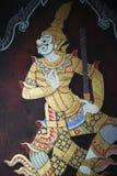 Het traditionele Thaise muurschildering schilderen Stock Foto's