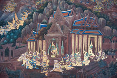 Het traditionele Thaise stijl schilderen Stock Afbeelding