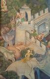 Het traditionele Thaise stijl schilderen op de tempelmuur Stock Foto's
