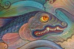 Het traditionele Thaise stijlkunst schilderen op tempel Royalty-vrije Stock Fotografie