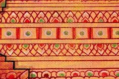 Het traditionele Thaise stijlkunst schilderen op tempel Stock Foto's