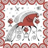 Het traditionele volks schilderen met paard en kippen Stock Fotografie