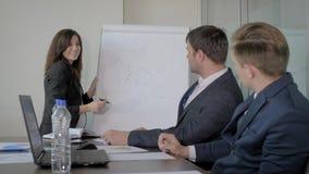 Het trainen Bus Explains Team On Flip Chart Strategy voor Ontwikkeling van een Opstarten stock video