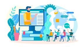 Het trainen onlinetrainingen, groepslessen, webinars, online seminaries Trainingscursussen met een leraar op Internet Vector royalty-vrije illustratie