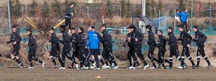 Het trainen van het voetbalteam van PAOK Royalty-vrije Stock Foto's